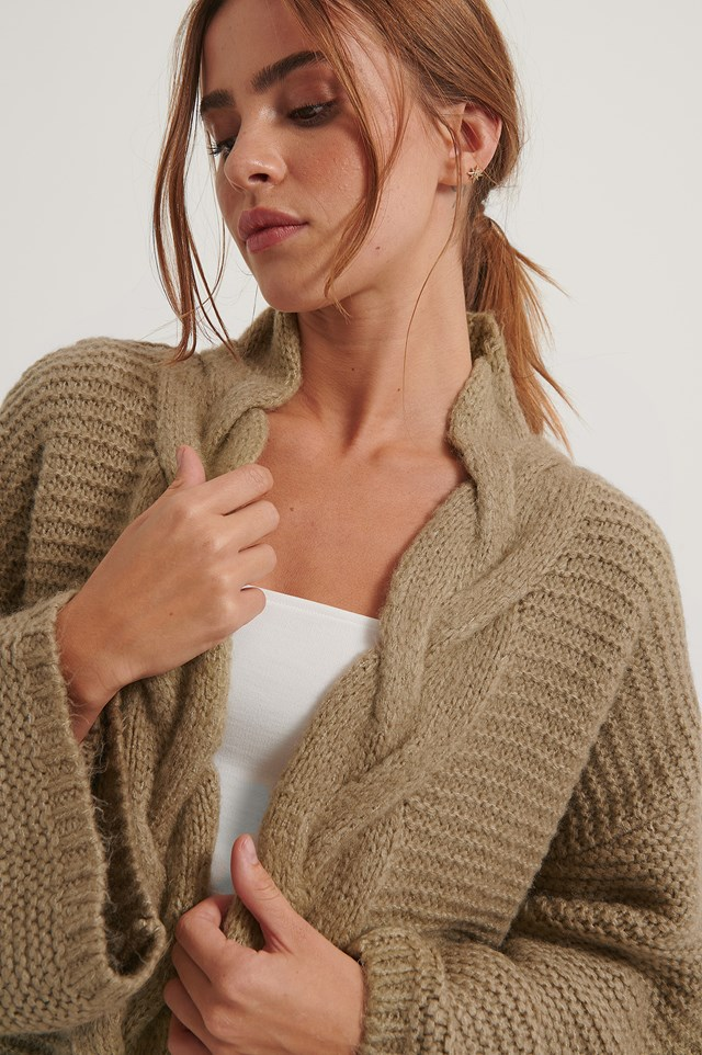 Beige Cable Detail Knitted Cardigan