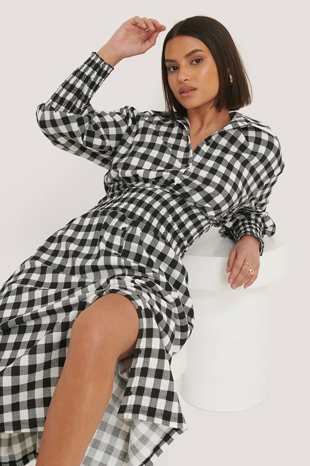 Checked Long Sleeve Dress Black/White