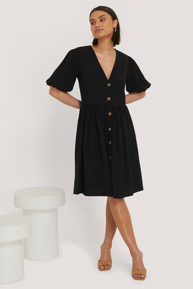 Puff Sleeve Dress Black