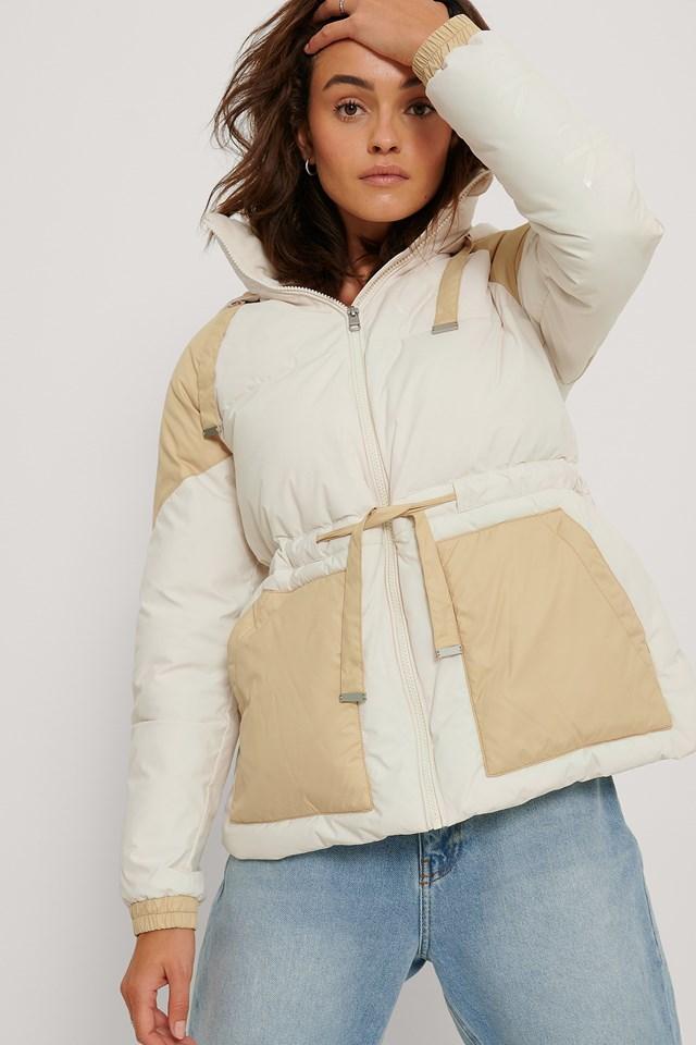 Ck Eco Blocking Puffer Jacket Beige