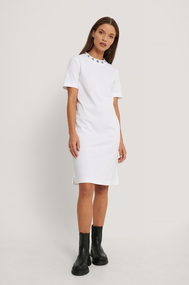 Logo Trim Tee Dress Bright White