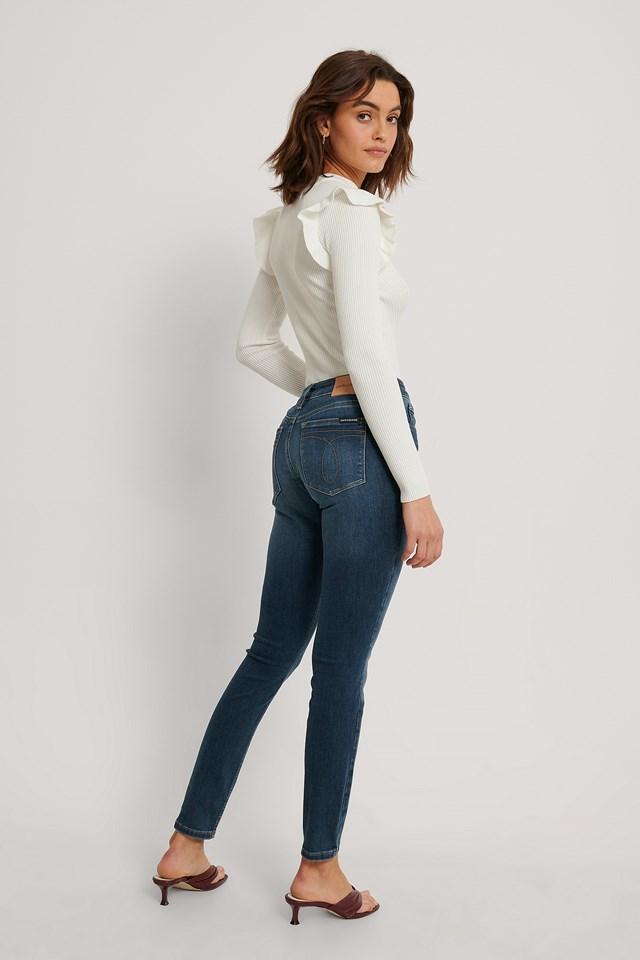 Mid Rise Skinny Jeans Mid Blue