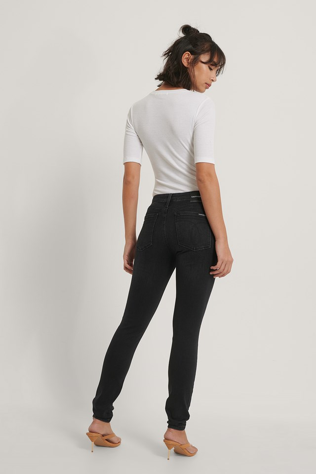 Mid Rise Skinny Jeans Washed Black