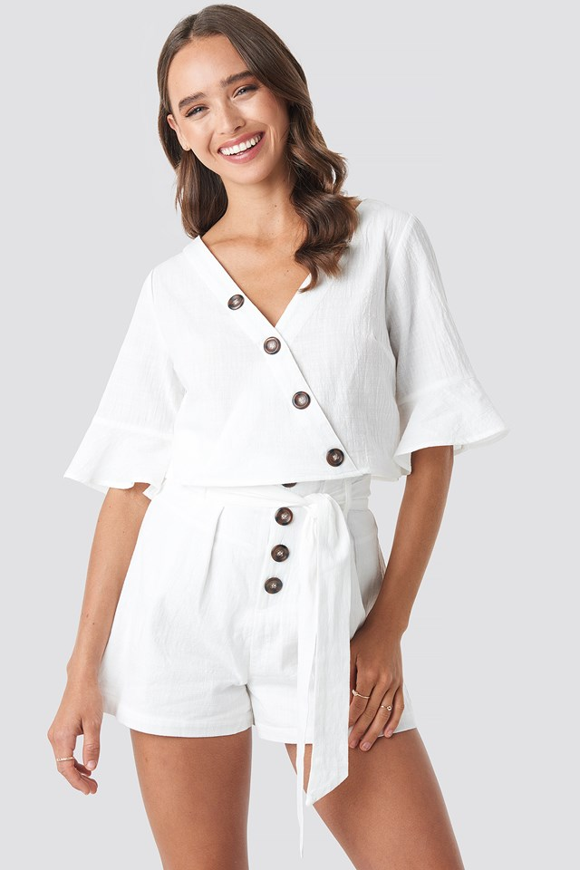 Buttoned Wrap Top White