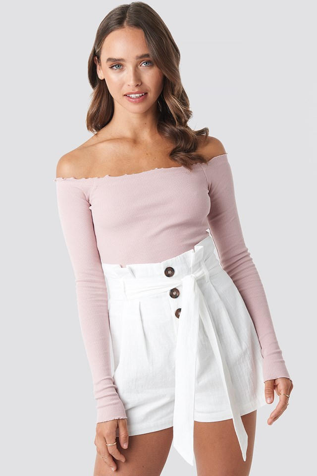 High Waist Belted Shorts White