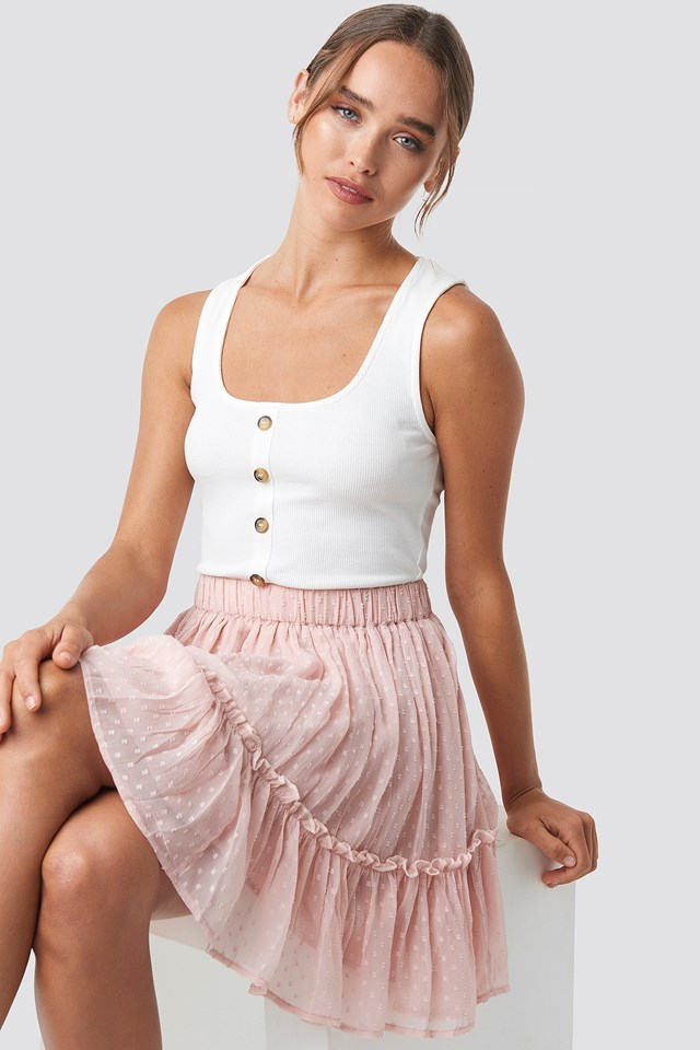 Ribbed Button Down Crop Top White