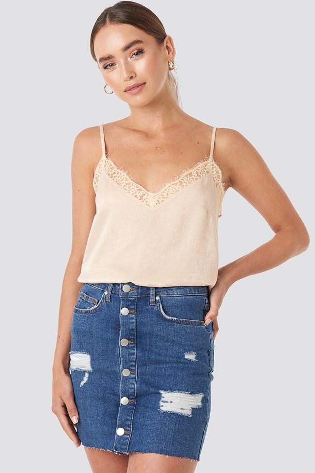 Buttoned Denim Skirt Blue