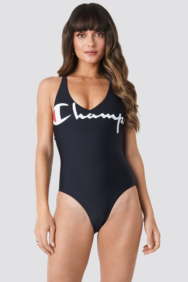 V-neck Logo Swimsuit Black