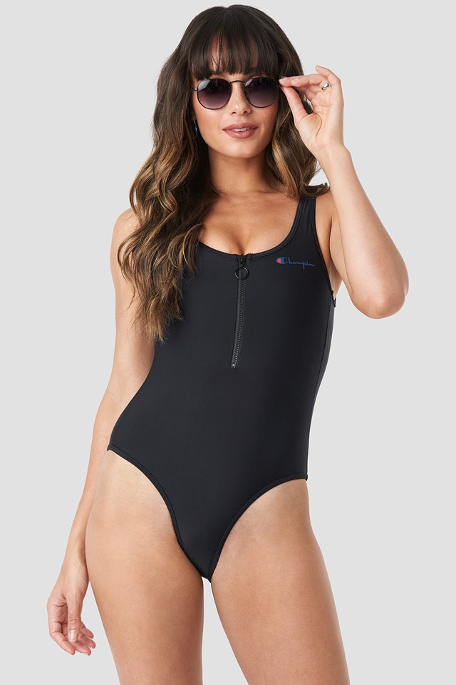 Zipper Swimsuit Black