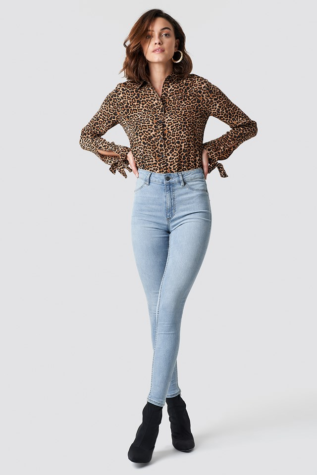 High Spray Stone Bleach Jeans Lt Blue