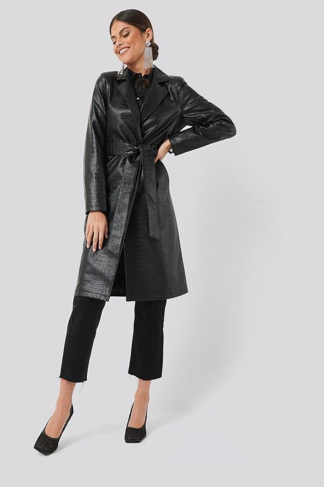 Croc Long Jacket Black