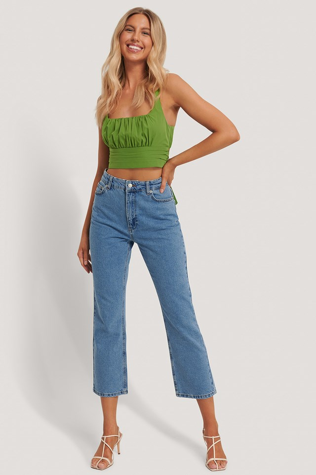 High Waist Straight Leg Jeans Blue