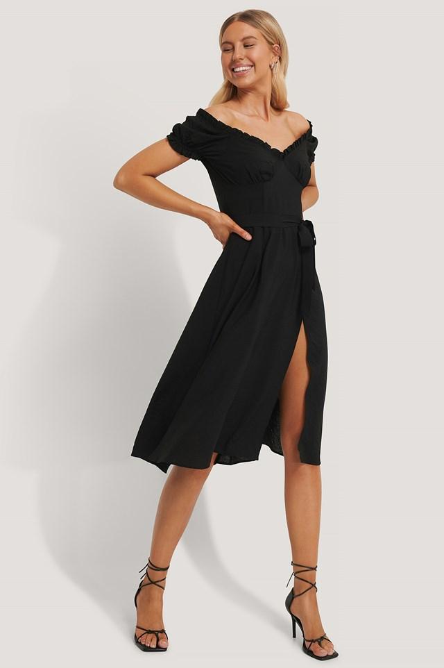 Off Shoulder Midi dress Black