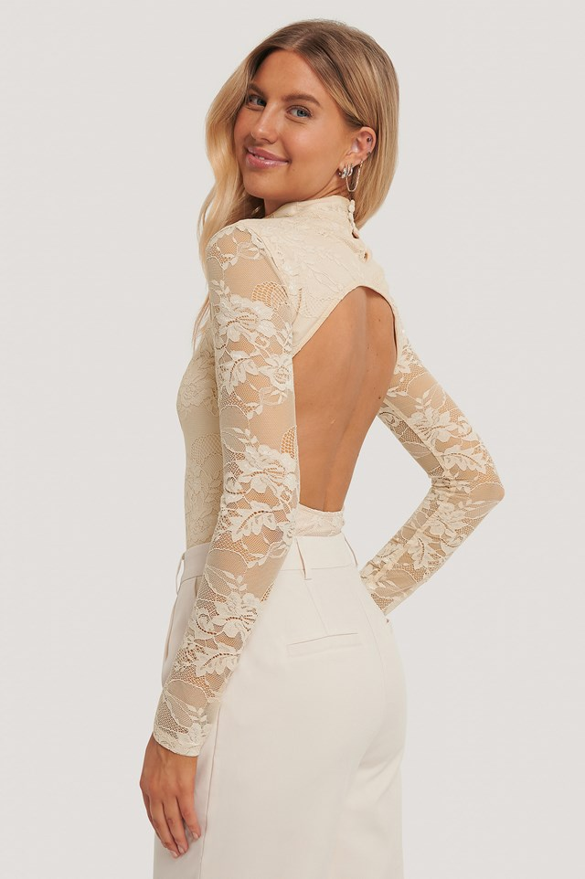 Open Back Lace Body Beige