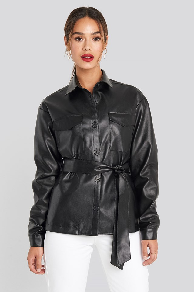 PU Belted Jacket Chloé B x NA-KD