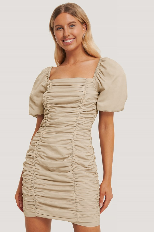 Puff Sleeve Gathered Mini Dress Beige