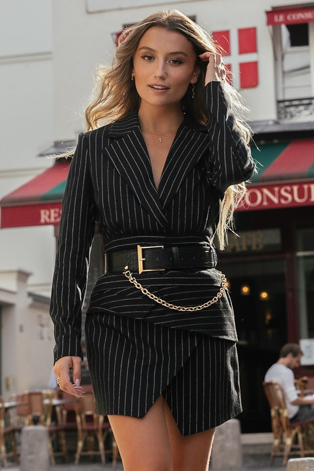 Pinstriped Draped Blazer Dress Black