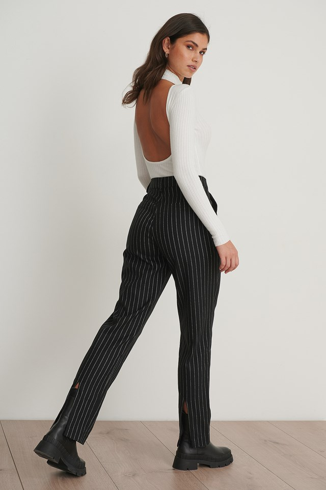Pinstriped Back Slit Suit Pants Black