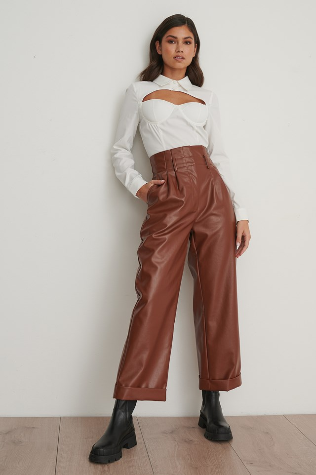 Pu Pleated Pants Brown