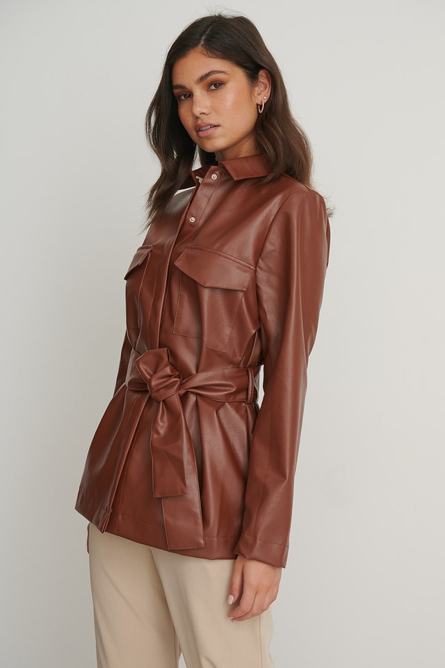 PU Tie Waist Shirt Brown