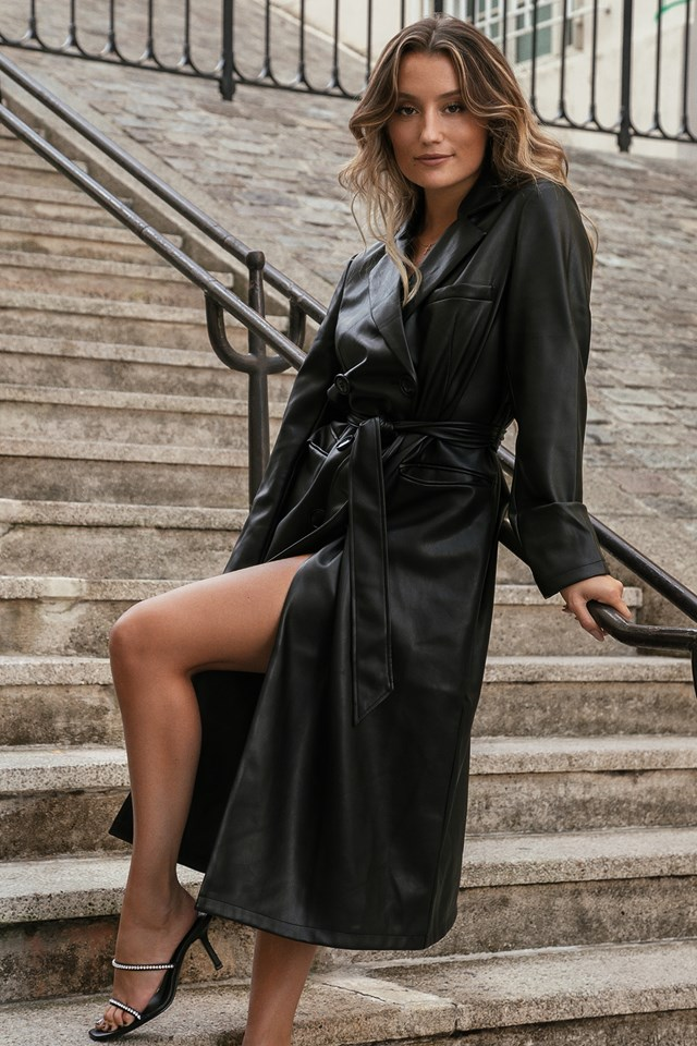Pu Trenchcoat Black