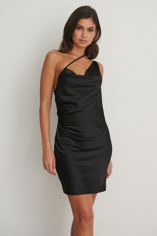 Side Straps Waterfall Dress Black
