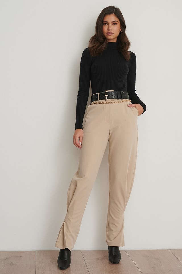 Slim Ankle Suit Pants Beige