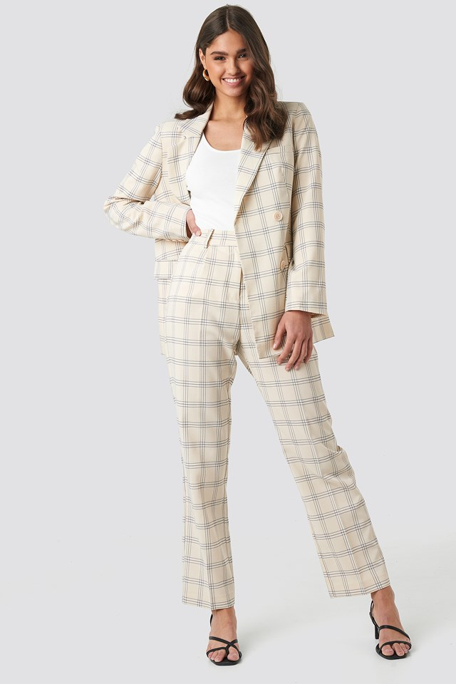 Light Checkered Suit Pants NA-KD Classic