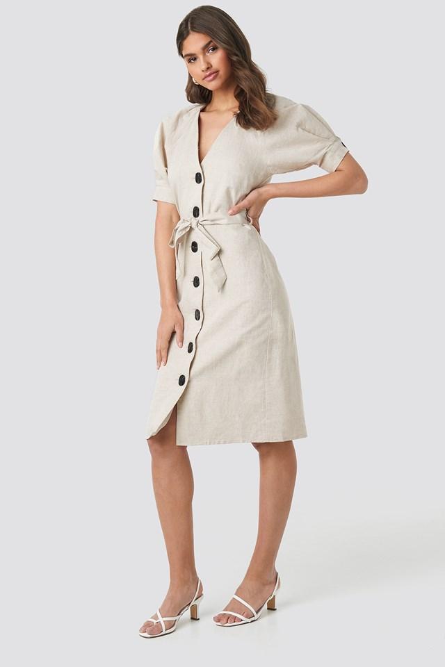 Linen Blend Buttoned Dress NA-KD Classic