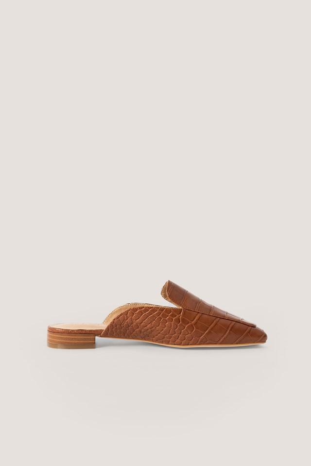 Croc Slip In Loafers Cognac