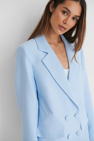 Light Blue Double Button Long Blazer