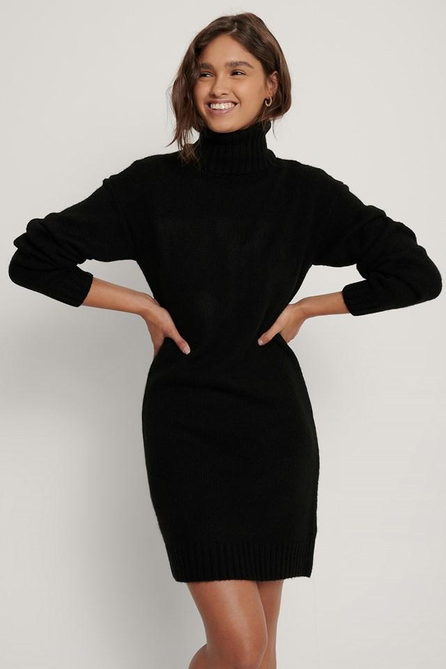 Oversized Knitted Dress Black