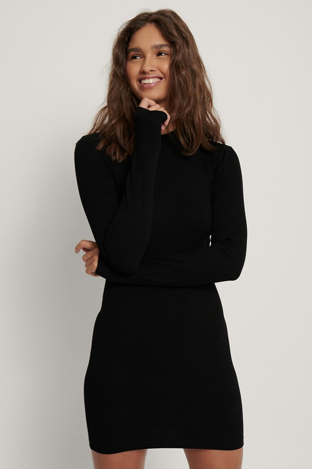 Ribbed Jersey Dress Black