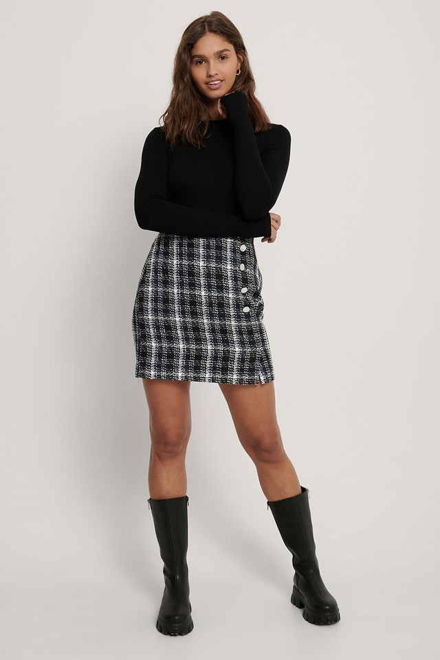Tweed Button Skirt Check