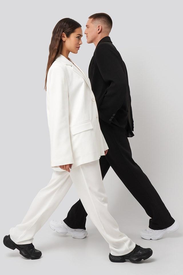Assymmetric Closure Pants White