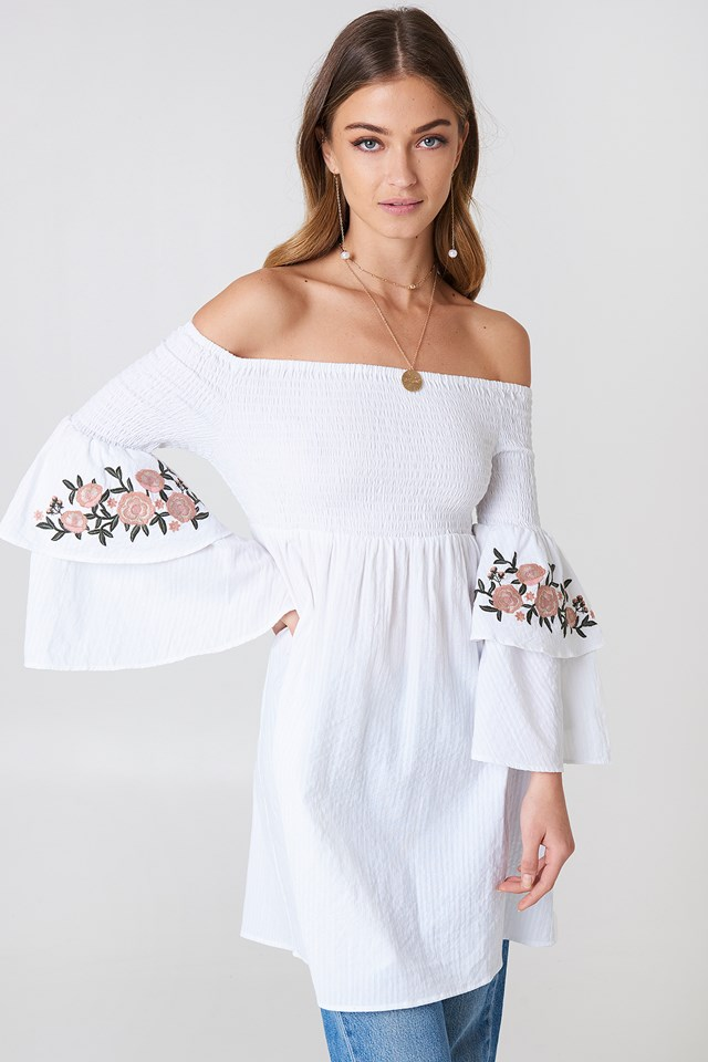 Embroidered Smocked Off Shoulder Tunic White