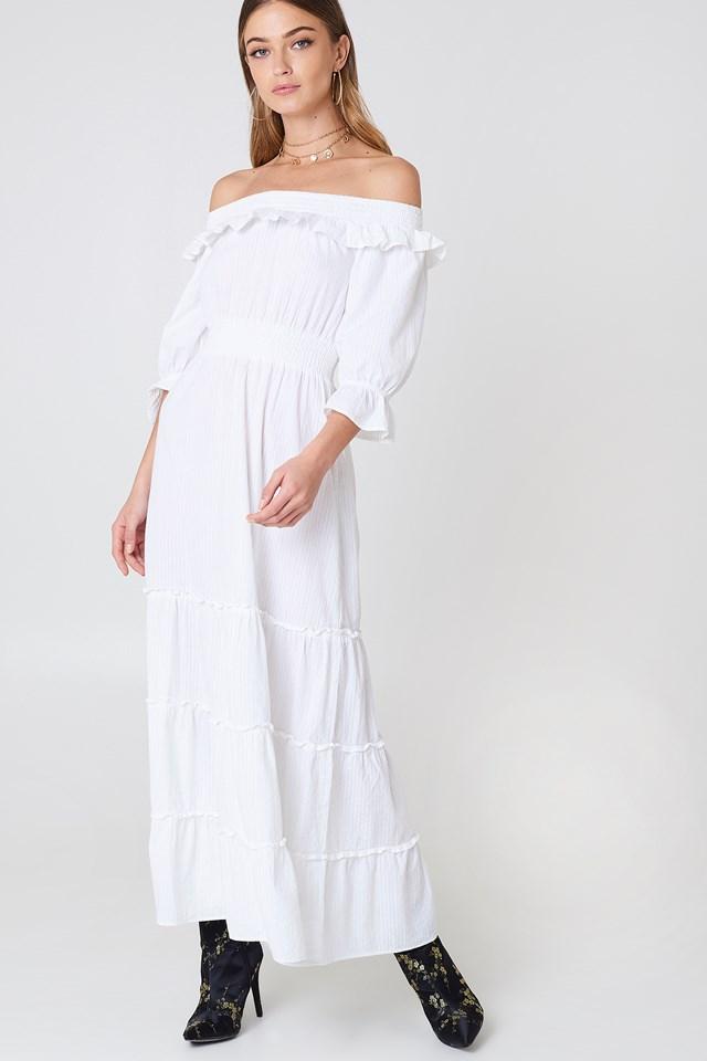 Off Shoulder Ankle Dress White