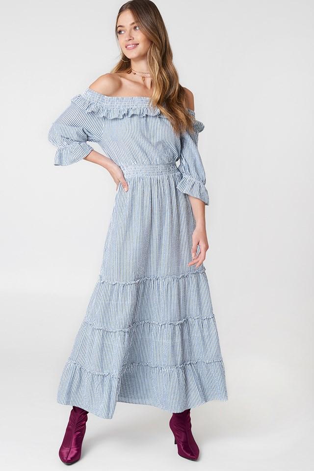 Off Shoulder Ankle Dress Blue/White Stripe