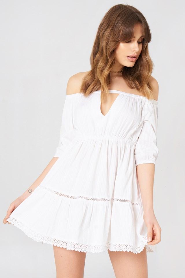 Off Shoulder Crochet Dress White