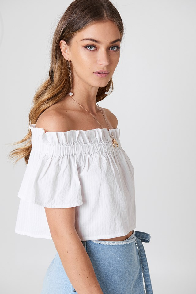 Off Shoulder Short Sleeve Top White