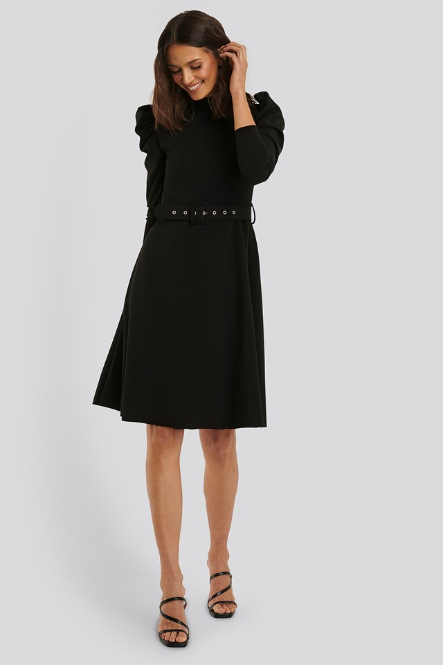 Puff Sleeve Midi Dress Black