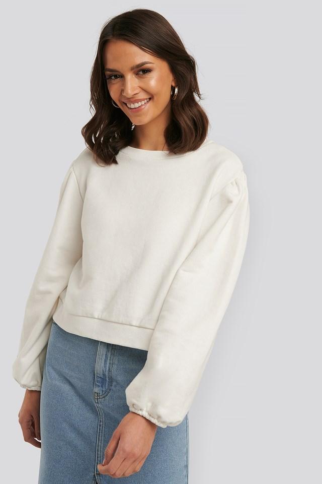 Relax Fit Ruffled Sweatshirt White