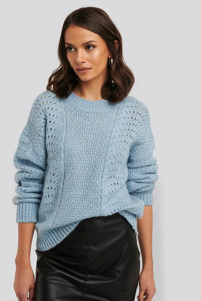 Relax Fit Knitwear Sweater Blue Melange
