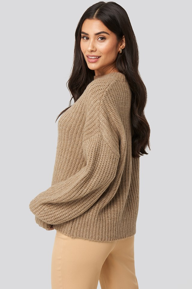 Dropped Shoulder Oversized Knitted Sweater Pale Mauve