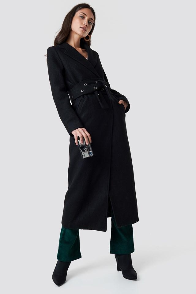 Eyelet Belted Trenchcoat Black