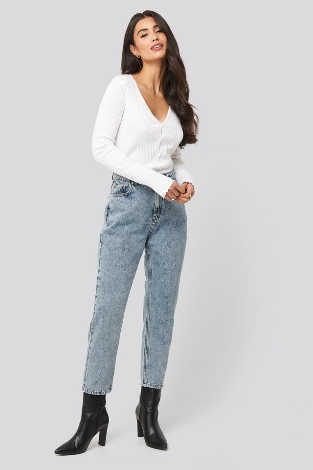 High Waist Cropped Jeans Mid Blue