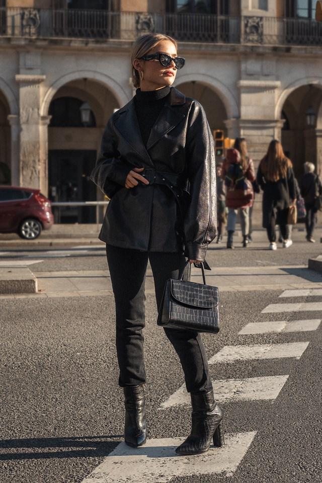 Faux Leather Oversized Blazer Black