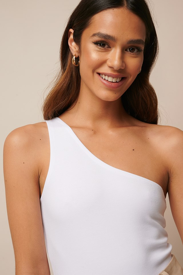 One Shoulder Strap Singlet White