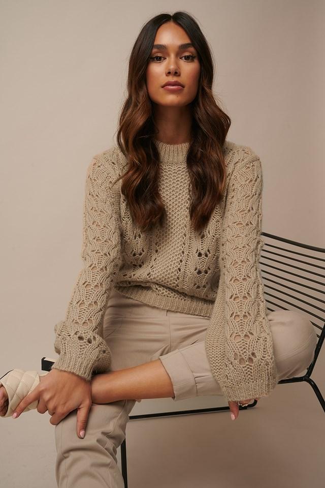 Pattern Knitted Sweater Beige