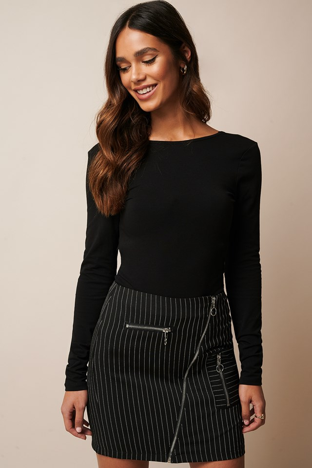 Pinstriped Zip Detail Skirt Black Pinstripe